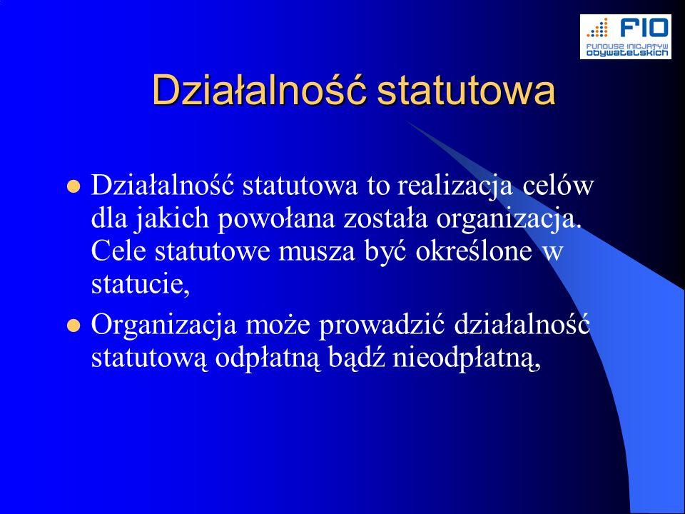 Działalność statutowa Działalność statutowa to realizacja celów dla jakich powołana została organizacja.