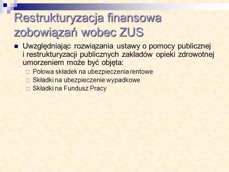 Restrukturyzacja finansowa zobowiązań wobec ZUS Uwzględniając rozwiązania ustawy o pomocy publicznej i restrukturyzacji publicznych zakładów opieki zd