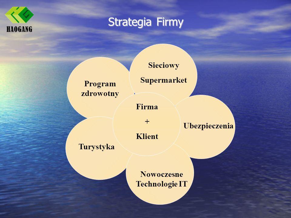 Strategia Firmy Program zdrowotny Sieciowy Supermarket Ubezpieczenia Turystyka Nowoczesne Technologie IT Firma + Klient