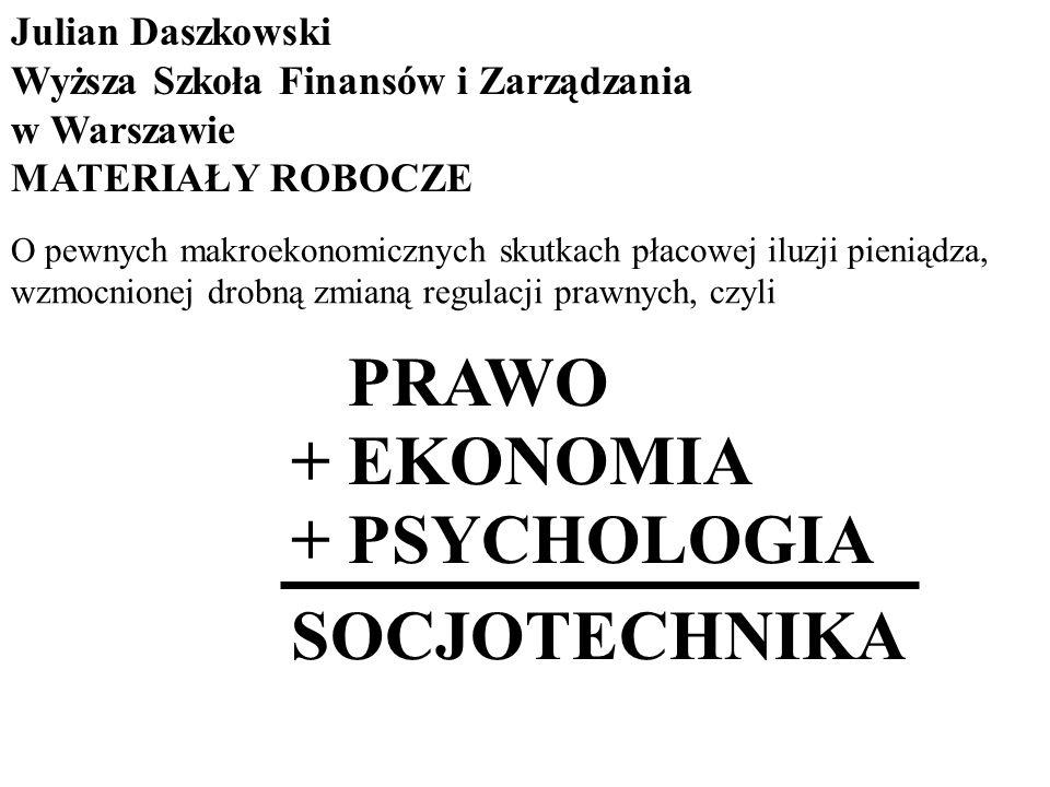+ PRAWO + EKONOMIA + PSYCHOLOGIA SOCJOTECHNIKA Julian Daszkowski Wyższa Szkoła Finansów i Zarządzania w Warszawie MATERIAŁY ROBOCZE O pewnych makroeko