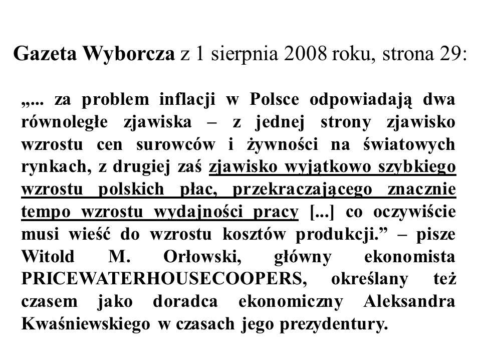 Gazeta Wyborcza z 1 sierpnia 2008 roku, strona 29:... za problem inflacji w Polsce odpowiadają dwa równoległe zjawiska – z jednej strony zjawisko wzro