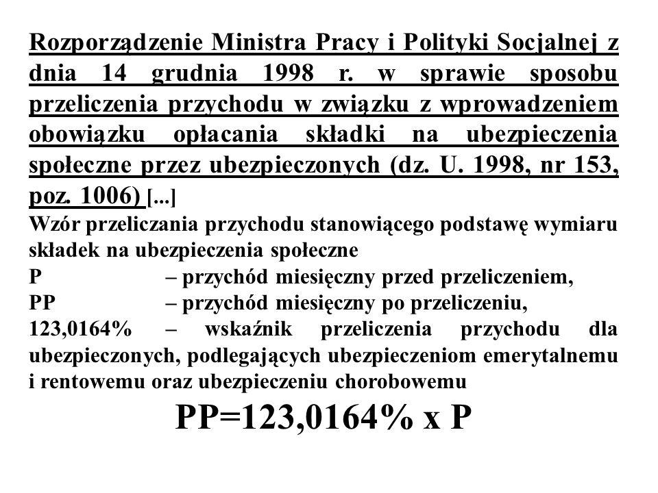 Rozporządzenie Ministra Pracy i Polityki Socjalnej z dnia 14 grudnia 1998 r. w sprawie sposobu przeliczenia przychodu w związku z wprowadzeniem obowią