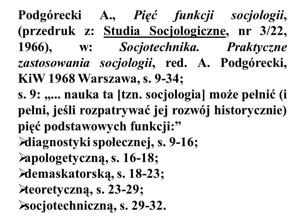 Podgórecki A., Pięć funkcji socjologii, (przedruk z: Studia Socjologiczne, nr 3/22, 1966), w: Socjotechnika. Praktyczne zastosowania socjologii, red.