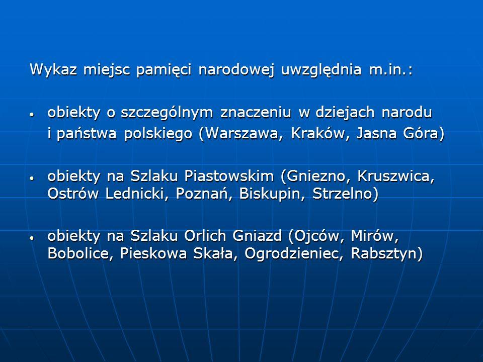 miejsca kaźni narodu polskiego (Oświęcim, Treblinka, Sztutowo, Sobibór, Rogoźnica, Majdanek, Palmiry) miejsca kaźni narodu polskiego (Oświęcim, Treblinka, Sztutowo, Sobibór, Rogoźnica, Majdanek, Palmiry) sanktuaria (Jasna Góra, Kalwaria Zebrzydowska, Kraków-Łagiewniki, Święty Krzyż, Kodeń nad Bugiem, Święta Lipka, Gietrzwałd, Piekary Śląskie, Licheń) sanktuaria (Jasna Góra, Kalwaria Zebrzydowska, Kraków-Łagiewniki, Święty Krzyż, Kodeń nad Bugiem, Święta Lipka, Gietrzwałd, Piekary Śląskie, Licheń) muzea wybitnych Polaków (Wadowice, Zuzela, Czarnolas, Oblęgorek, Russów, Śmiełów, Będomin) muzea wybitnych Polaków (Wadowice, Zuzela, Czarnolas, Oblęgorek, Russów, Śmiełów, Będomin)