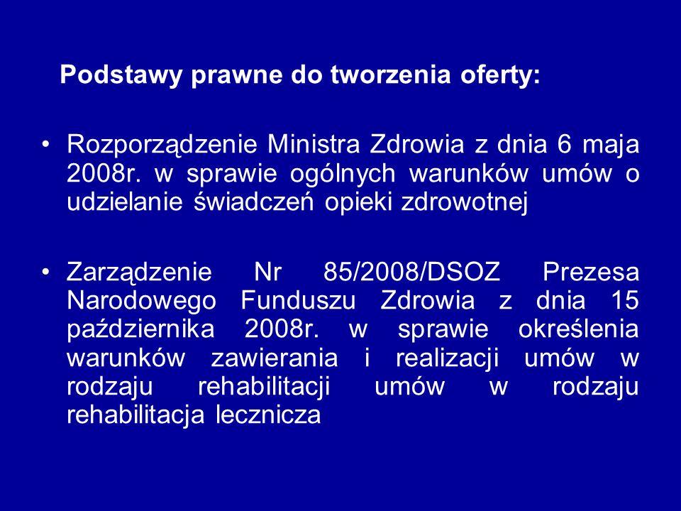 Podstawy prawne do tworzenia oferty: Rozporządzenie Ministra Zdrowia z dnia 6 maja 2008r. w sprawie ogólnych warunków umów o udzielanie świadczeń opie