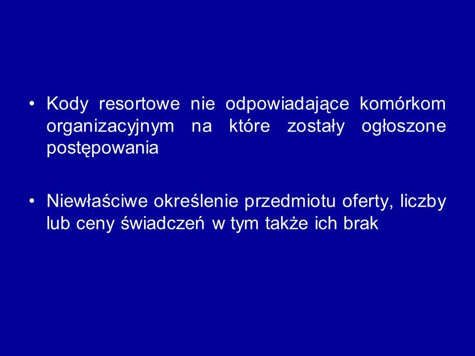 Kody resortowe nie odpowiadające komórkom organizacyjnym na które zostały ogłoszone postępowania Niewłaściwe określenie przedmiotu oferty, liczby lub