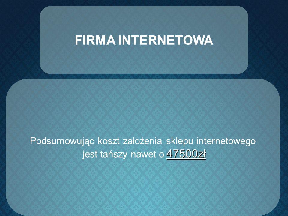 FIRMA INTERNETOWA Podsumowując koszt założenia sklepu internetowego 47500zł jest tańszy nawet o 47500zł