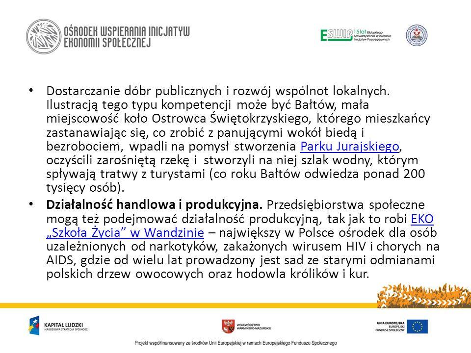Dostarczanie dóbr publicznych i rozwój wspólnot lokalnych. Ilustracją tego typu kompetencji może być Bałtów, mała miejscowość koło Ostrowca Świętokrzy