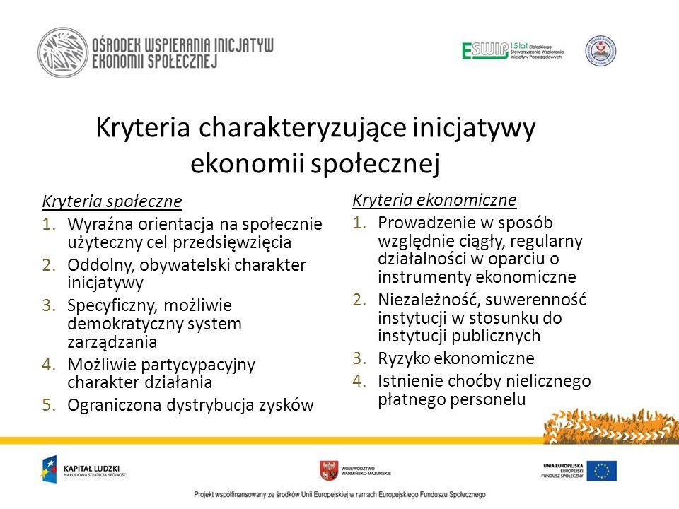 Kryteria społeczne 1.Wyraźna orientacja na społecznie użyteczny cel przedsięwzięcia 2.Oddolny, obywatelski charakter inicjatywy 3.Specyficzny, możliwi