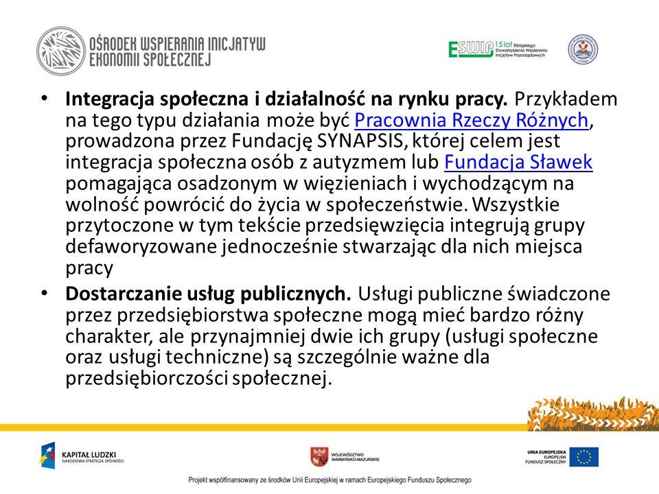 a) Usługi społeczne: - usługi edukacyjne (np.