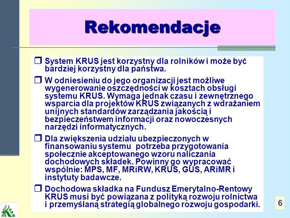 Rekomendacje System KRUS jest korzystny dla rolników i może być bardziej korzystny dla państwa. W odniesieniu do jego organizacji jest możliwe wygener