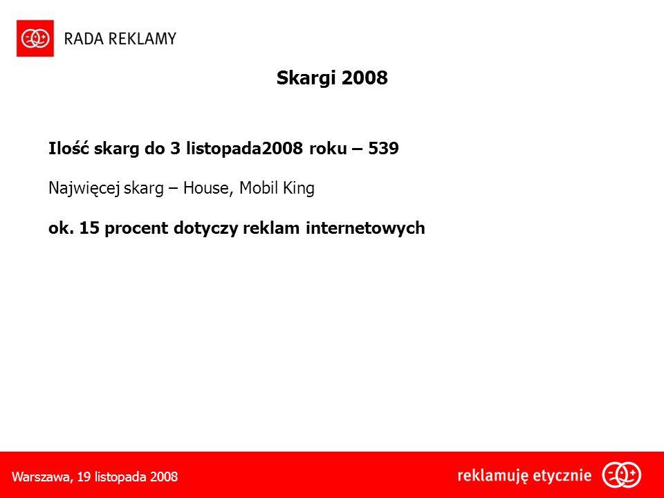 Warszawa, 19 listopada 2008 Ilość skarg do 3 listopada2008 roku – 539 Najwięcej skarg – House, Mobil King ok.