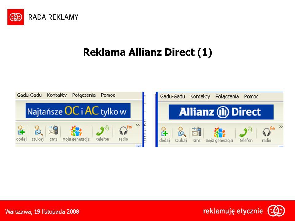 Warszawa, 19 listopada 2008 Reklama Allianz Direct (1)
