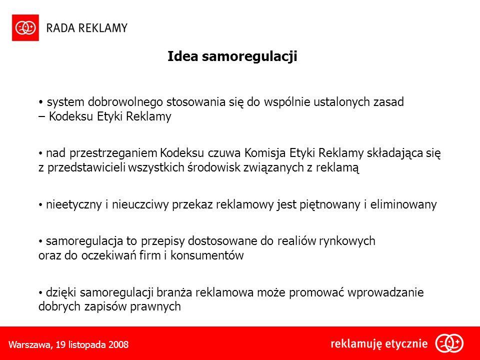 Warszawa, 19 listopada 2008 Idea samoregulacji system dobrowolnego stosowania się do wspólnie ustalonych zasad – Kodeksu Etyki Reklamy nad przestrzeganiem Kodeksu czuwa Komisja Etyki Reklamy składająca się z przedstawicieli wszystkich środowisk związanych z reklamą nieetyczny i nieuczciwy przekaz reklamowy jest piętnowany i eliminowany samoregulacja to przepisy dostosowane do realiów rynkowych oraz do oczekiwań firm i konsumentów dzięki samoregulacji branża reklamowa może promować wprowadzanie dobrych zapisów prawnych