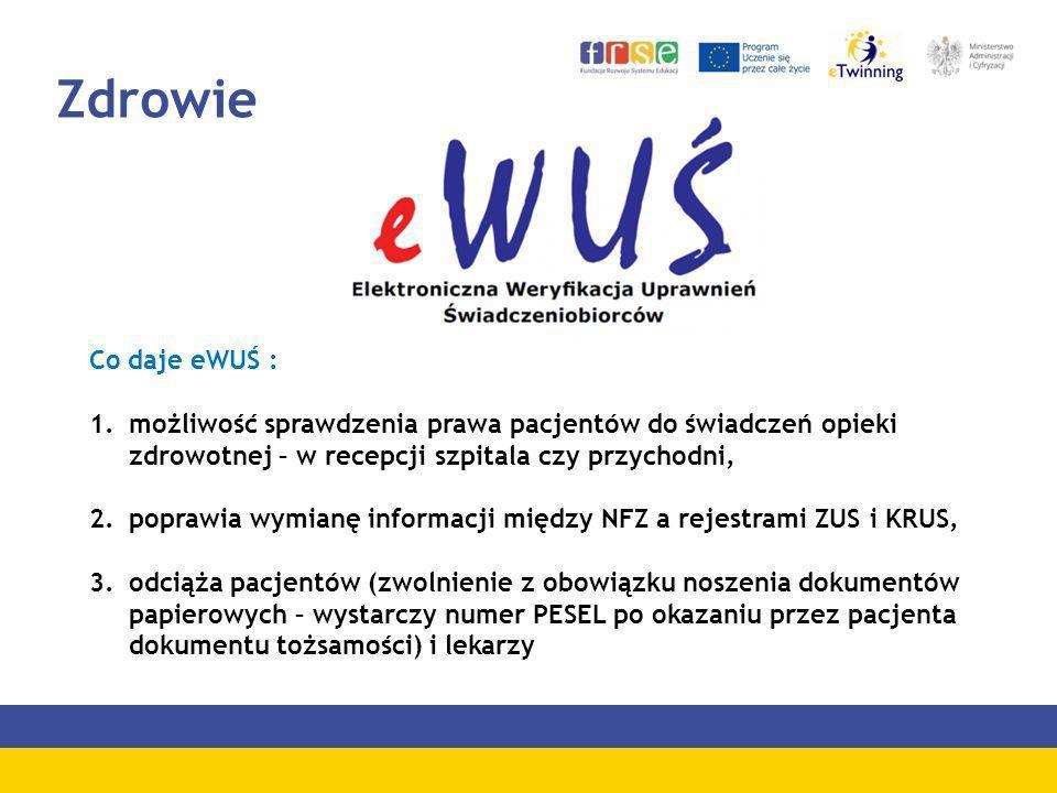 Zdrowie Co daje eWUŚ : 1.możliwość sprawdzenia prawa pacjentów do świadczeń opieki zdrowotnej – w recepcji szpitala czy przychodni, 2.poprawia wymianę