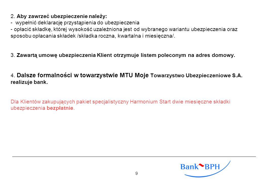 2. Aby zawrzeć ubezpieczenie należy: - wypełnić deklarację przystąpienia do ubezpieczenia - opłacić składkę, której wysokość uzależniona jest od wybra