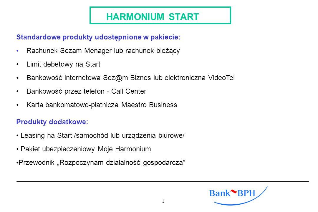 HARMONIUM START Standardowe produkty udostępnione w pakiecie: Rachunek Sezam Menager lub rachunek bieżący Limit debetowy na Start Bankowość internetow