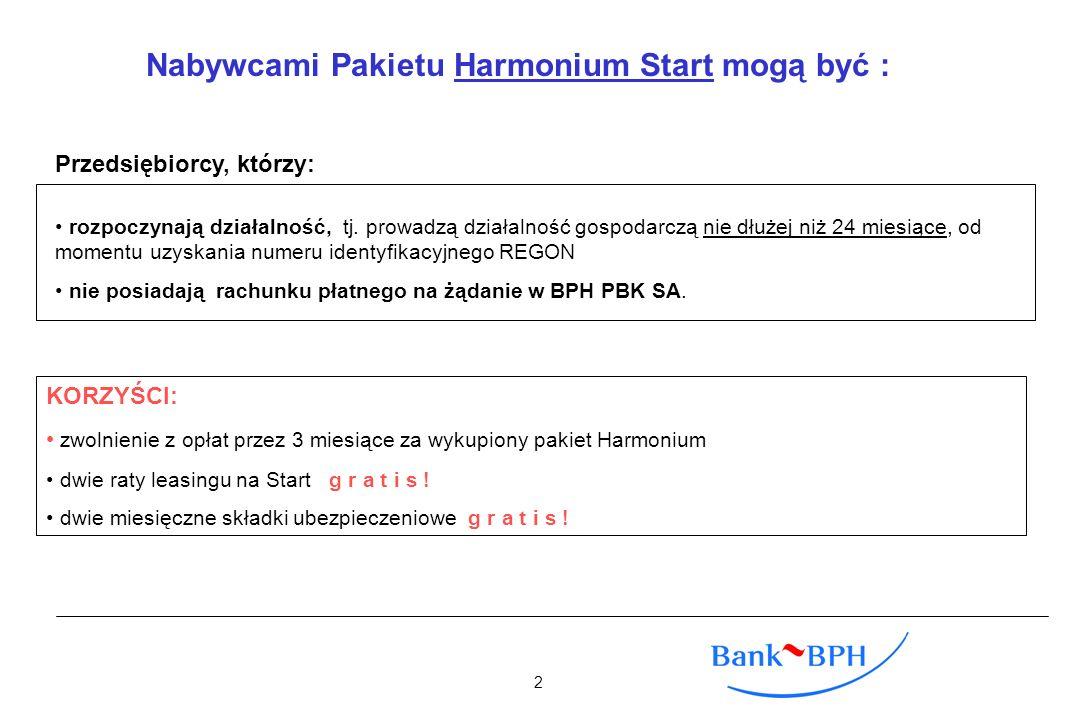Nabywcami Pakietu Harmonium Start mogą być : rozpoczynają działalność, tj. prowadzą działalność gospodarczą nie dłużej niż 24 miesiące, od momentu uzy