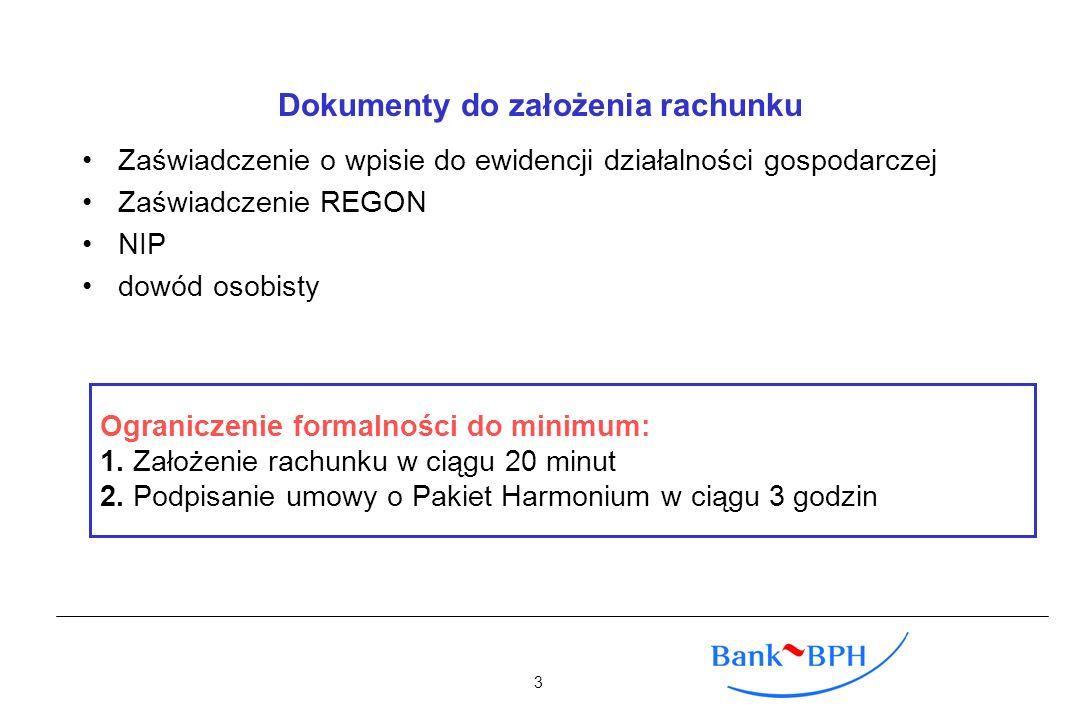 Dokumenty do założenia rachunku Zaświadczenie o wpisie do ewidencji działalności gospodarczej Zaświadczenie REGON NIP dowód osobisty Ograniczenie form