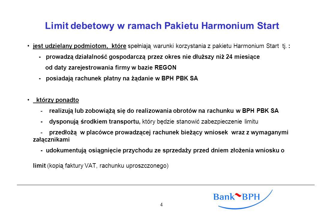 Limit debetowy w ramach Pakietu Harmonium Start jest udzielany podmiotom, które spełniają warunki korzystania z pakietu Harmonium Start tj. : - prowad