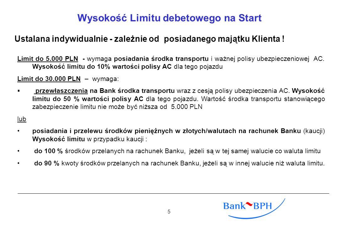 Wysokość Limitu debetowego na Start Ustalana indywidualnie - zależnie od posiadanego majątku Klienta ! Limit do 5.000 PLN - wymaga posiadania środka t