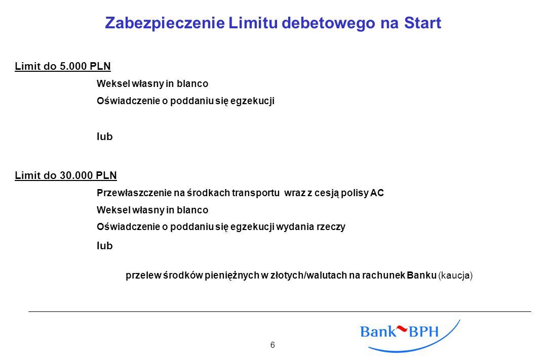 Zabezpieczenie Limitu debetowego na Start Limit do 5.000 PLN Weksel własny in blanco Oświadczenie o poddaniu się egzekucji lub Limit do 30.000 PLN Prz