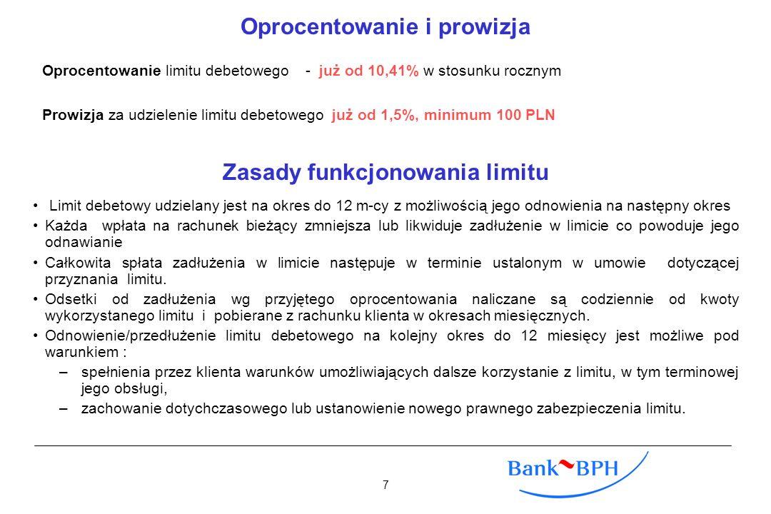 Oprocentowanie i prowizja Oprocentowanie limitu debetowego - już od 10,41% w stosunku rocznym Prowizja za udzielenie limitu debetowego już od 1,5%, mi