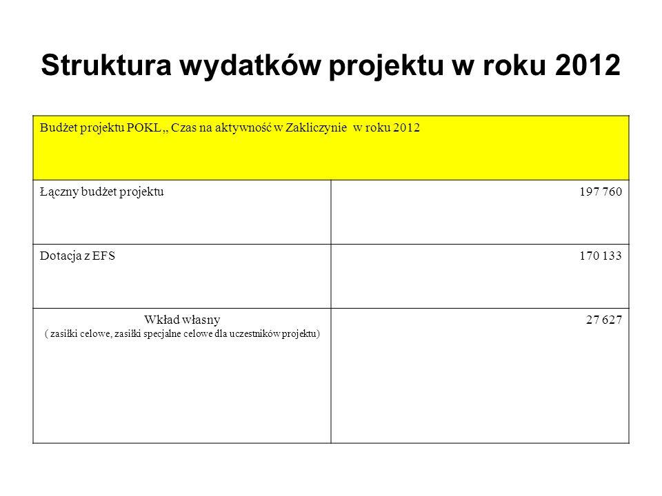 Struktura wydatków projektu w roku 2012 Budżet projektu POKL Czas na aktywność w Zakliczynie w roku 2012 Łączny budżet projektu 197 760 Dotacja z EFS