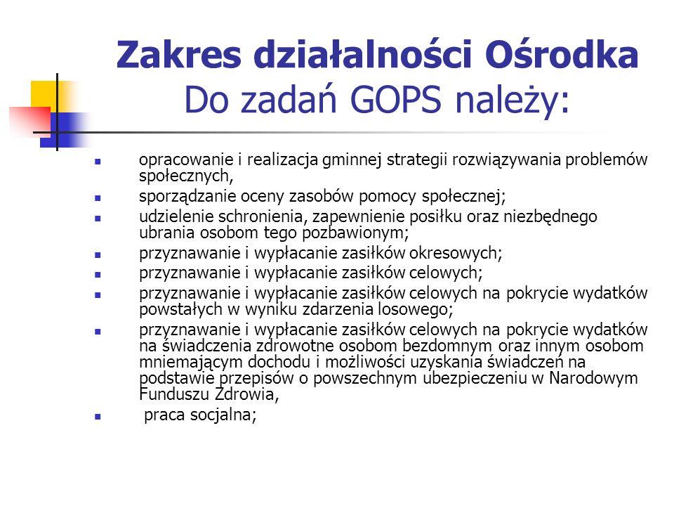 Zakres działalności Ośrodka Do zadań GOPS należy: opracowanie i realizacja gminnej strategii rozwiązywania problemów społecznych, sporządzanie oceny z