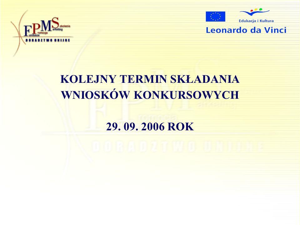 KOLEJNY TERMIN SKŁADANIA WNIOSKÓW KONKURSOWYCH 29. 09. 2006 ROK