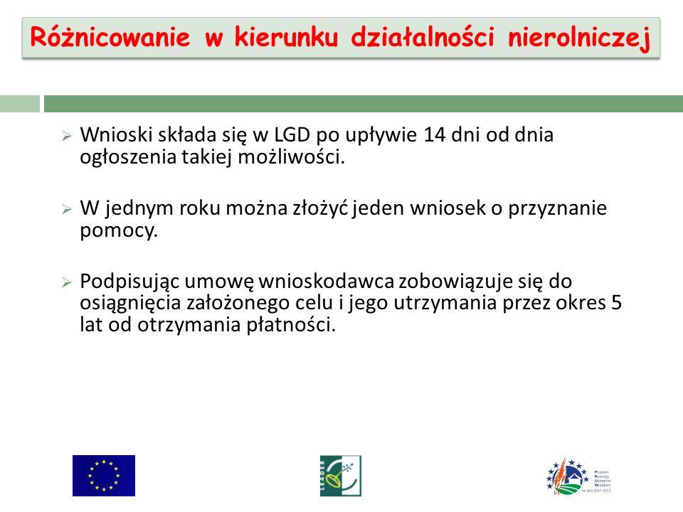 Wnioski składa się w LGD po upływie 14 dni od dnia ogłoszenia takiej możliwości.