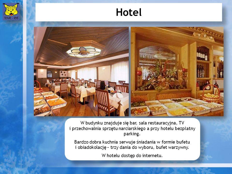 Hotel W budynku znajduje się bar, sala restauracyjna, TV i przechowalnia sprzętu narciarskiego a przy hotelu bezpłatny parking.