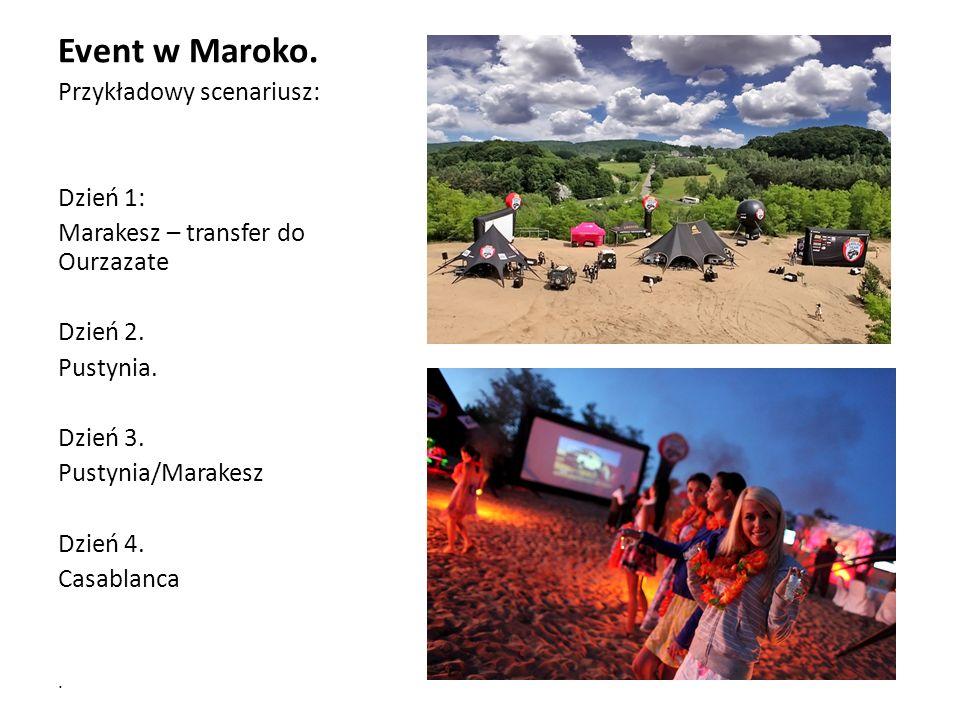 Event w Maroko. Przykładowy scenariusz: Dzień 1: Marakesz – transfer do Ourzazate Dzień 2.