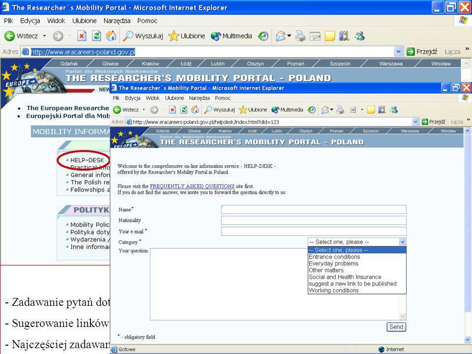 HELP-DESK - Zadawanie pytań dotyczących konkretnych dziedzin - Sugerowanie linków - Najczęściej zadawane pytania FAQ