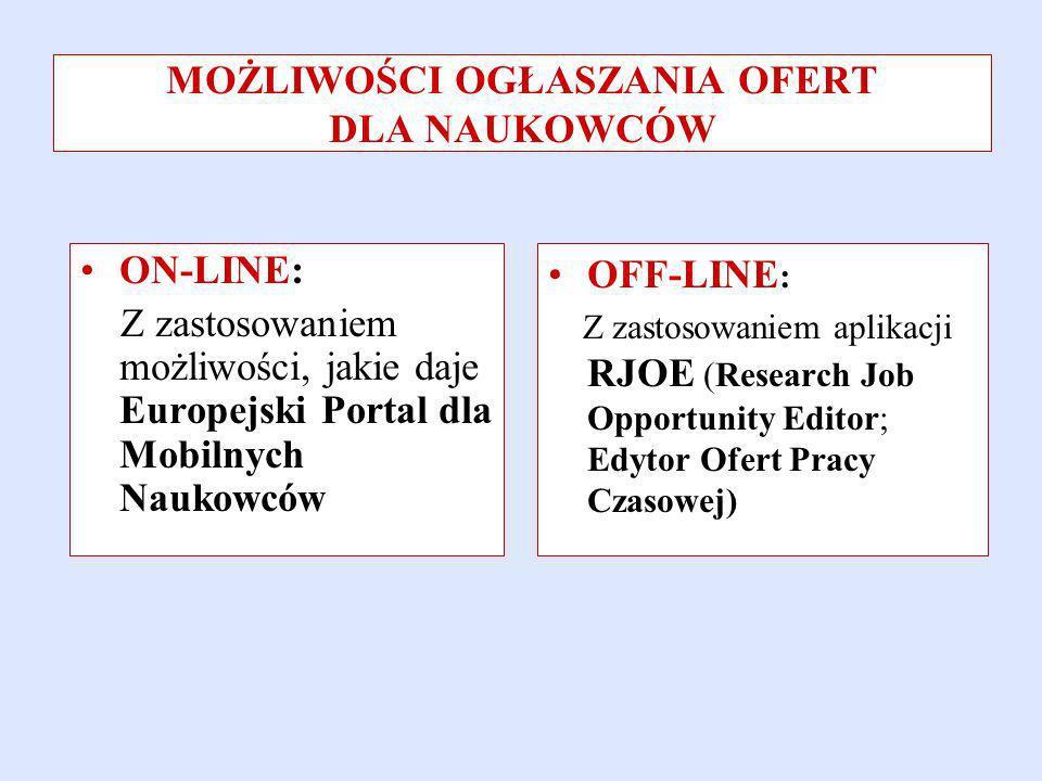 ON-LINE: Z zastosowaniem możliwości, jakie daje Europejski Portal dla Mobilnych Naukowców OFF-LINE : Z zastosowaniem aplikacji RJOE (Research Job Opportunity Editor; Edytor Ofert Pracy Czasowej) MOŻLIWOŚCI OGŁASZANIA OFERT DLA NAUKOWCÓW