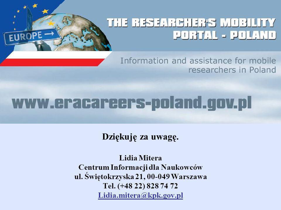 Dziękuję za uwagę. Lidia Mitera Centrum Informacji dla Naukowców ul.