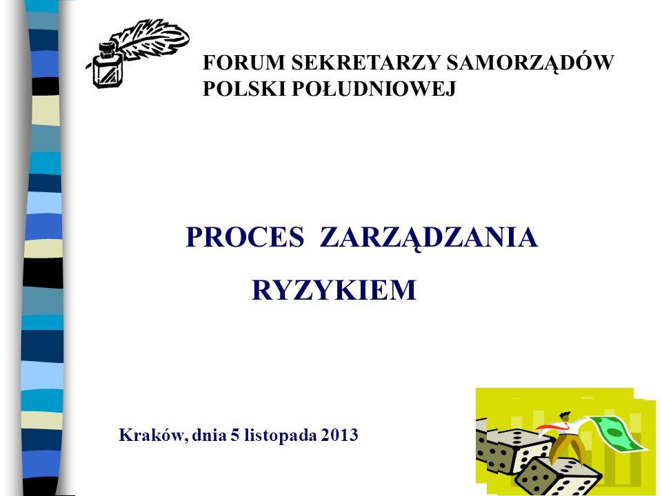 PROCES ZARZĄDZANIA RYZYKIEM Kraków, dnia 5 listopada 2013 FORUM SEKRETARZY SAMORZĄDÓW POLSKI POŁUDNIOWEJ