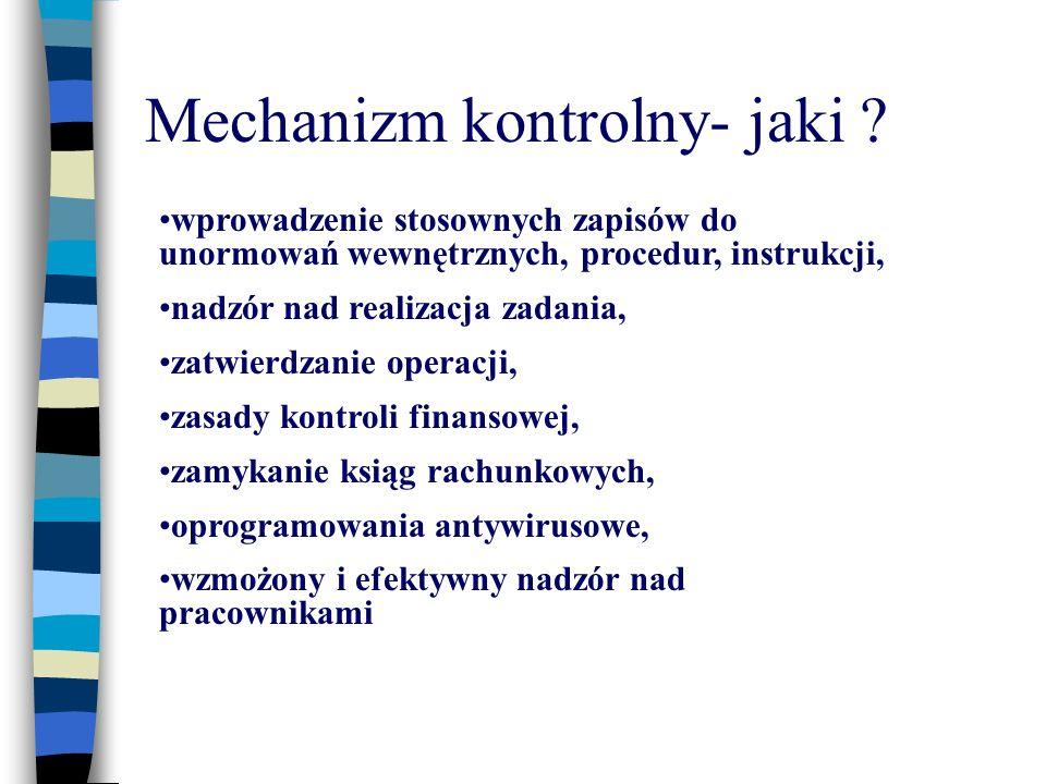Mechanizm kontrolny- jaki ? wprowadzenie stosownych zapisów do unormowań wewnętrznych, procedur, instrukcji, nadzór nad realizacja zadania, zatwierdza