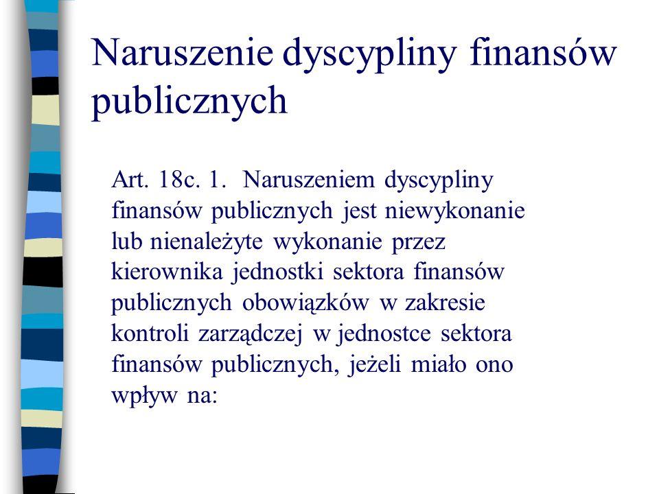 Naruszenie dyscypliny finansów publicznych Art. 18c. 1.Naruszeniem dyscypliny finansów publicznych jest niewykonanie lub nienależyte wykonanie przez k