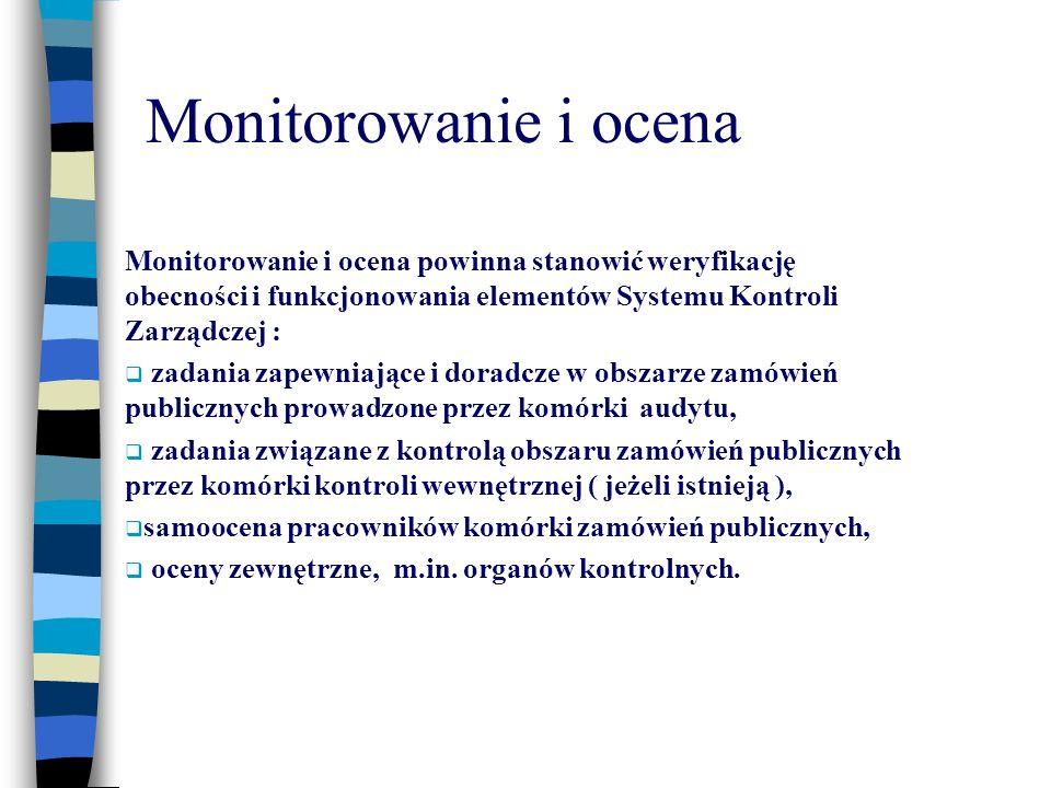 Monitorowanie i ocena Monitorowanie i ocena powinna stanowić weryfikację obecności i funkcjonowania elementów Systemu Kontroli Zarządczej : zadania za