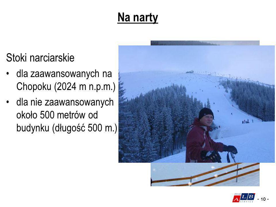 - 10 - Na narty Stoki narciarskie dla zaawansowanych na Chopoku (2024 m n.p.m.) dla nie zaawansowanych około 500 metrów od budynku (długość 500 m.)