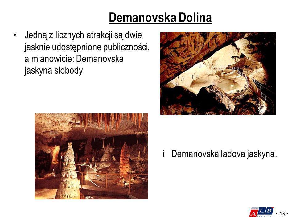 - 13 - Demanovska Dolina Jedną z licznych atrakcji są dwie jasknie udostępnione publiczności, a mianowicie: Demanovska jaskyna slobody i Demanovska la