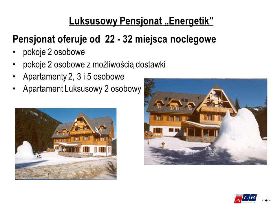 - 4 - Pensjonat oferuje od 22 - 32 miejsca noclegowe pokoje 2 osobowe pokoje 2 osobowe z możliwością dostawki Apartamenty 2, 3 i 5 osobowe Apartament