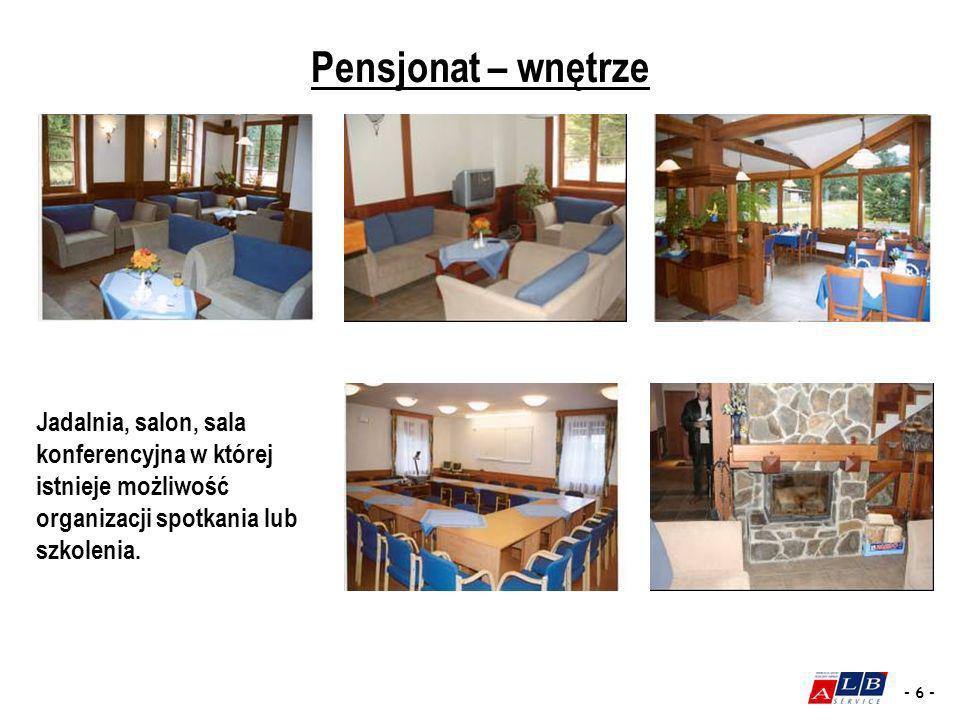 - 6 - Pensjonat – wnętrze Jadalnia, salon, sala konferencyjna w której istnieje możliwość organizacji spotkania lub szkolenia.