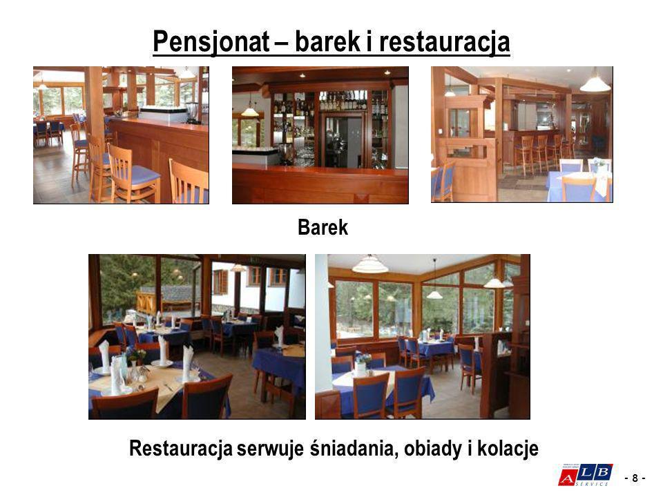 - 8 - Restauracja serwuje śniadania, obiady i kolacje Barek Pensjonat – barek i restauracja