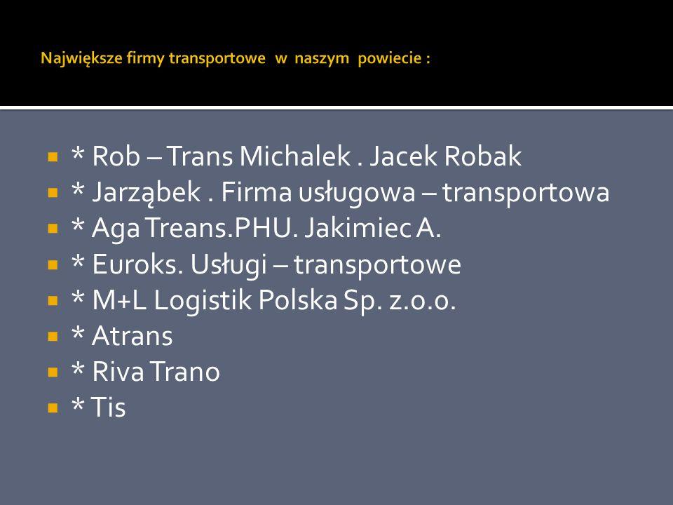 * Rob – Trans Michalek. Jacek Robak * Jarząbek. Firma usługowa – transportowa * Aga Treans.PHU. Jakimiec A. * Euroks. Usługi – transportowe * M+L Logi