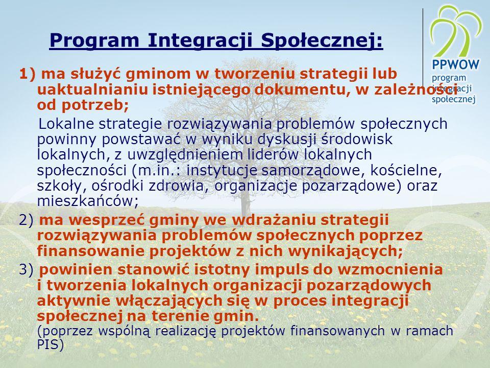 Program Integracji Społecznej: 1) ma służyć gminom w tworzeniu strategii lub uaktualnianiu istniejącego dokumentu, w zależności od potrzeb; Lokalne strategie rozwiązywania problemów społecznych powinny powstawać w wyniku dyskusji środowisk lokalnych, z uwzględnieniem liderów lokalnych społeczności (m.in.: instytucje samorządowe, kościelne, szkoły, ośrodki zdrowia, organizacje pozarządowe) oraz mieszkańców; 2) ma wesprzeć gminy we wdrażaniu strategii rozwiązywania problemów społecznych poprzez finansowanie projektów z nich wynikających; 3) powinien stanowić istotny impuls do wzmocnienia i tworzenia lokalnych organizacji pozarządowych aktywnie włączających się w proces integracji społecznej na terenie gmin.