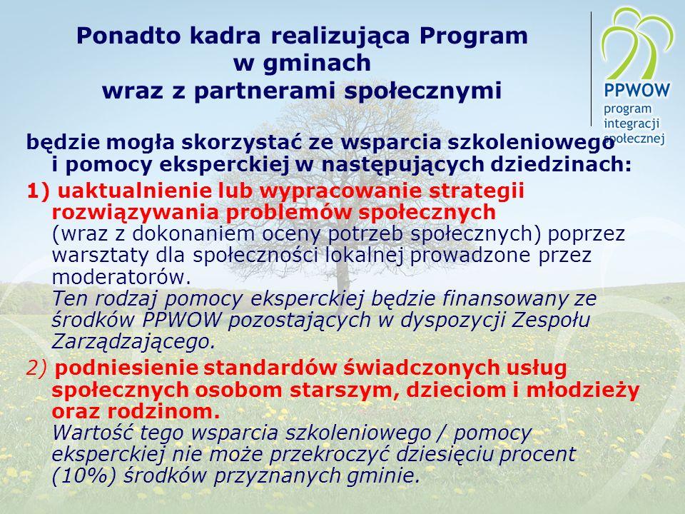 Ponadto kadra realizująca Program w gminach wraz z partnerami społecznymi będzie mogła skorzystać ze wsparcia szkoleniowego i pomocy eksperckiej w nas