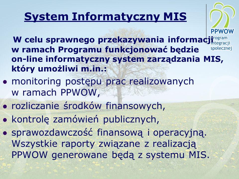 System Informatyczny MIS W celu sprawnego przekazywania informacji w ramach Programu funkcjonować będzie on-line informatyczny system zarządzania MIS, który umożliwi m.in.: monitoring postępu prac realizowanych w ramach PPWOW, rozliczanie środków finansowych, kontrolę zamówień publicznych, sprawozdawczość finansową i operacyjną.