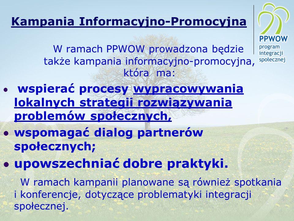 Kampania Informacyjno-Promocyjna W ramach PPWOW prowadzona będzie także kampania informacyjno-promocyjna, która ma: wspierać procesy wypracowywania lokalnych strategii rozwiązywania problemów społecznych, wspomagać dialog partnerów społecznych; upowszechniać dobre praktyki.